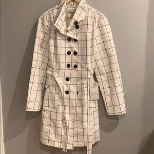 NWT Merona Black and White Trench Coat - Size XL